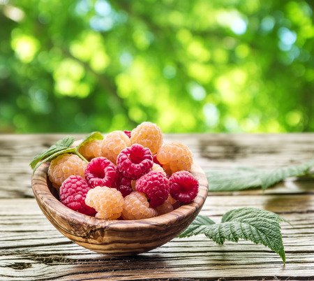 summer nature: Raspberries in the wooden bowl on the table.