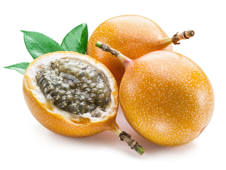 sweet pulp: Granadilla fruits on the white background.