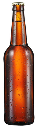 objects with clipping paths: Cold bottle of beer with condensated water drops on it. File contains clipping paths.