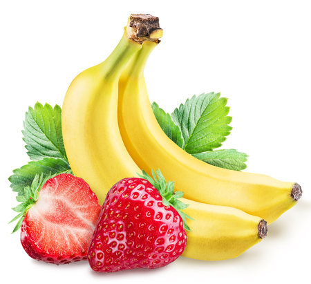 strawberies: Strawberies and bananas. File contains clipping paths.