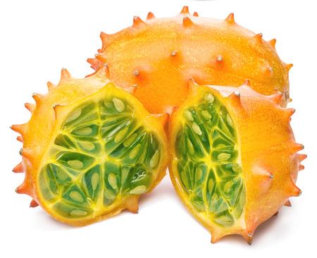 sweet pulp: Kiwano fruits on the white background.