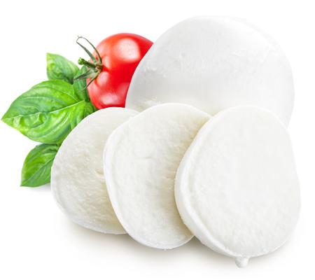 queso fresco blanco: Mozzarella, albahaca y tomates. Foto de archivo