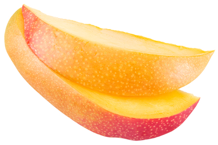 outs: Slices of mango fruit over white. File contains clipping paths.