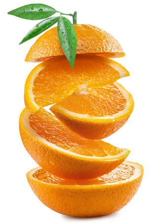 clipping: Orange slices on white background. File contains clipping paths.