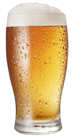 clipping: Glass of beer on white background. File contains clipping paths. Stock Photo