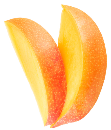 clipping: Slices of mango fruit over white. File contains clipping paths.