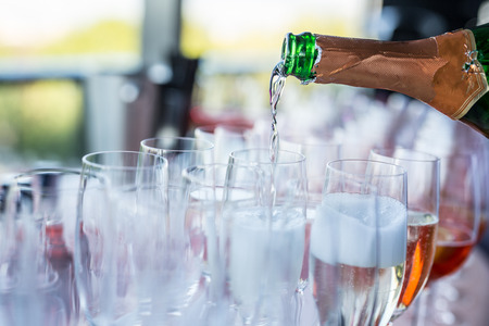 bocal: Glasses of wine. Banquet service. Stock Photo