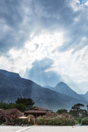 slanting: Slanting sunlight in the mountains at the seaside. Stock Photo
