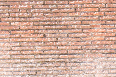 surface level: Old red brick wall. Close-up picture of bricks.