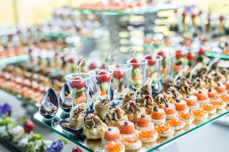 canapes: Assortment of canapes. Banquet service.