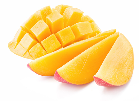 drupe: Mango cubes and slices. Isolated on a white background.