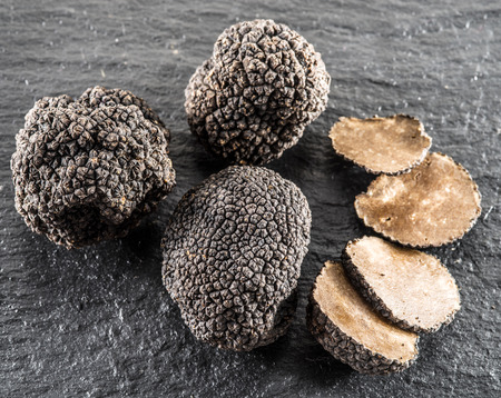 graphite: Black truffles and truffle slices on the graphite board. Stock Photo