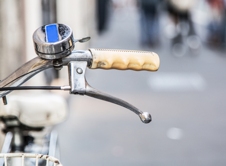 environmentally: Old rusty bicycle handle. Environmentally safe transport. Stock Photo