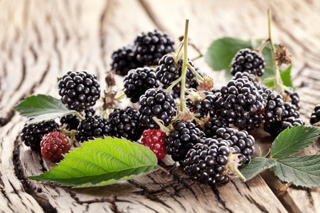 Blackberries with leaves on a old wooden table. Stock Photo