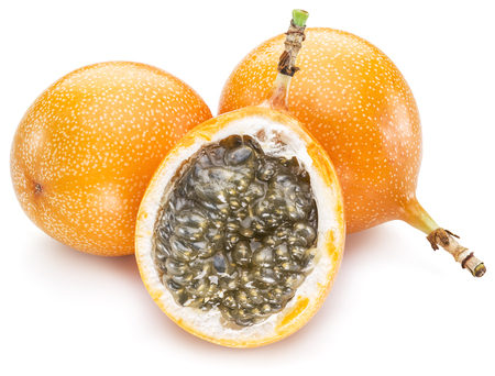 Granadilla fruits on the white background.