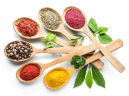 wild mint: Assortment of colorful spices in the wooden spoons on the white background.