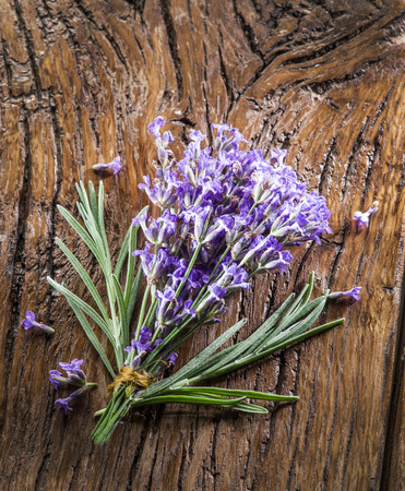 lavandula: Bunch of lavandula or lavender flowers on the old wooden table. Stock Photo