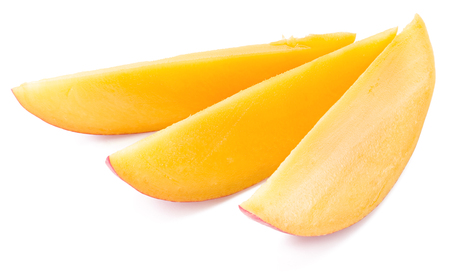 drupe: Mango slices. Isolated on a white background.