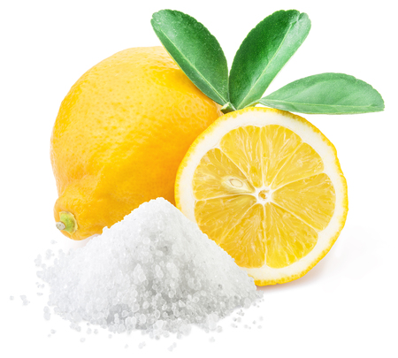 Lemon acid and lemon fruits on the white background.