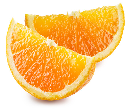orange fruit: Two segments of orange fruit. File contains clipping paths.