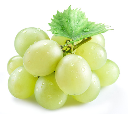vinery: Bunch of white grapes on the white background. Stock Photo
