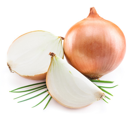 spring onions: Bulb onion and green onions isolated on a white background.