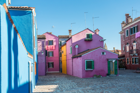 Brightly painted houses of Burano Island. Venice. Italy.