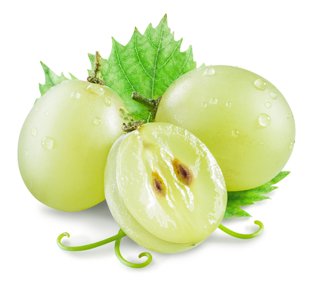 white grape: White grape berries with green leaf. Clipping paths.