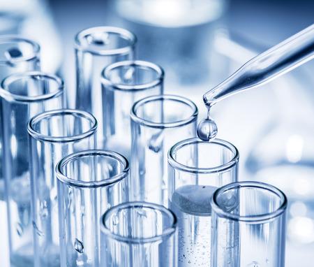dropper: Different laboratory beakers and glassware. Monochrome. Stock Photo