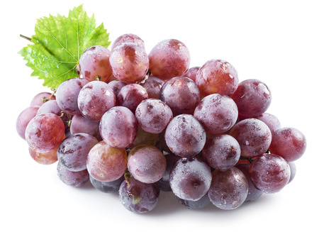 vinery: Bunch of purple grapes on the white background. Stock Photo