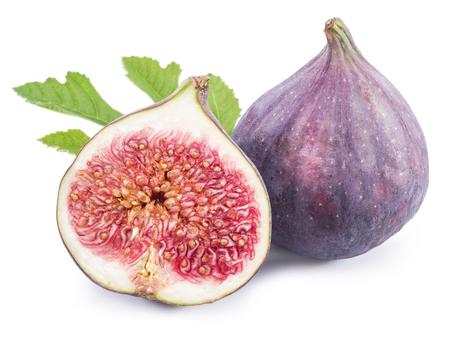 Rijpe vijgen vruchten op de witte achtergrond. Stockfoto