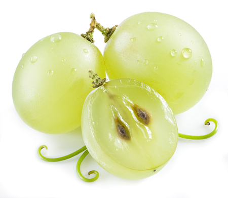 vinery: Three grapes on the white background. Stock Photo