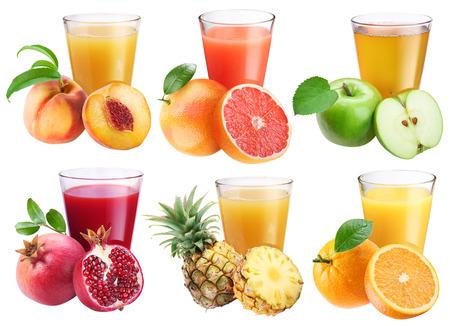 fruits juice: Glasses of fresh juice and fruits around them. Stock Photo