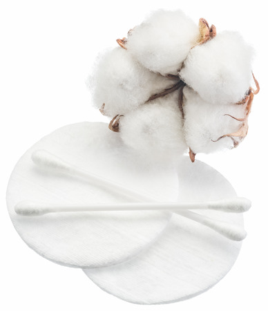 material flower: Fluffy cotton ball and cotton swabs and pads on a white background.