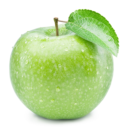 greening: Ripe green apple with water drops on it. Isolated on a white background.