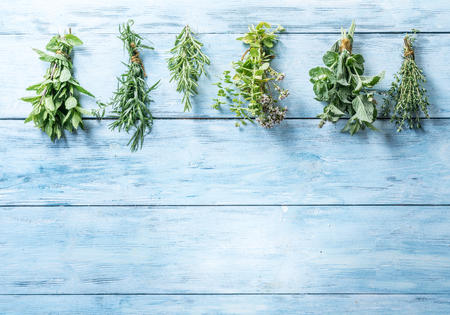 Different bunches of fresh herbs on the blue wooden background.