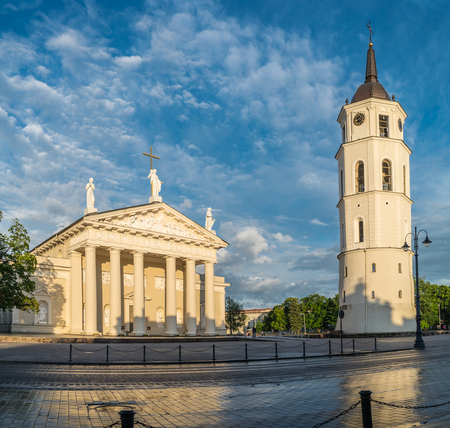 The Cathedral Square and bell tower in Vilnius. Lithuania. Фото со стока