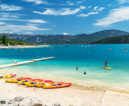 Canoes on the beach of lake Sainte-Croix-du-Verdon. France. 2017.07.30. Editorial