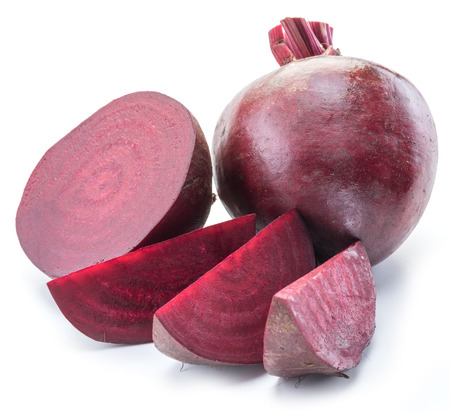 Red beet or beetroot on white background.