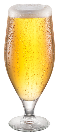 Steamy glass of beer. File contains clipping paths.