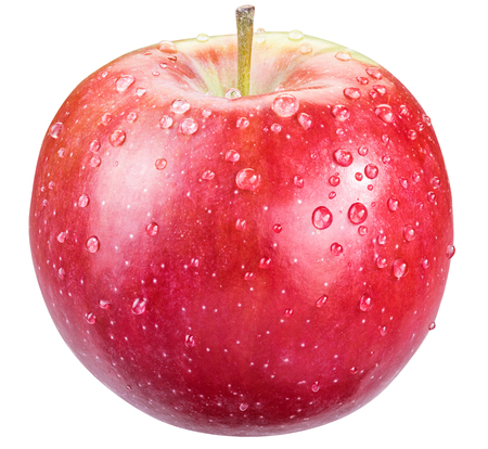 Ripe red apple with water drops.