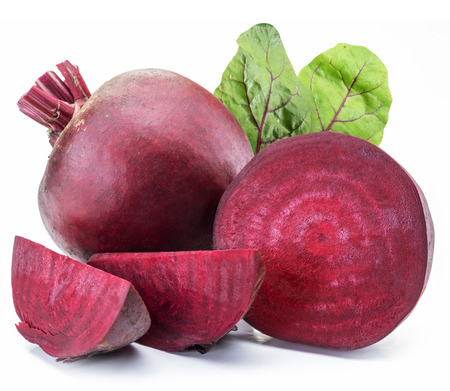 Red beet or beetroot on white background. Фото со стока - 93266422
