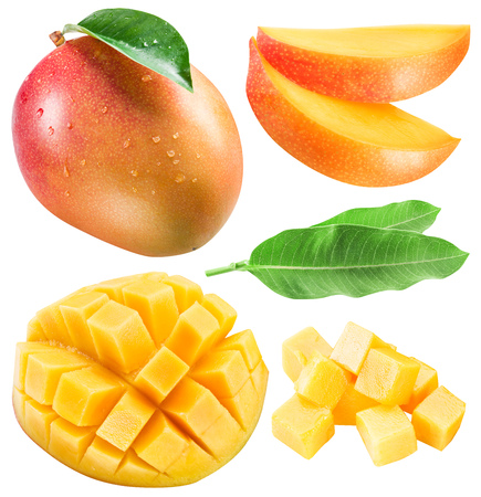 Set of mango fruits, mango slices and leaf. Clipping path for each item.