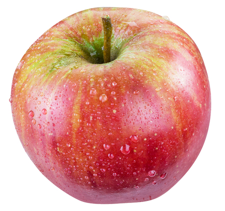 Ripe red apple with water drops on it.