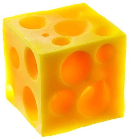 Holey cheese cube. Stock Photo