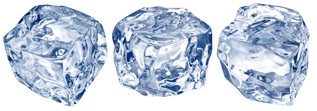 Macro shot of three ice cubes. Clipping path.