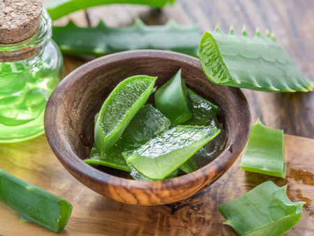 Fresh aloe leaves and aloe gel in the cosmetic jar on wooden table.