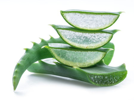 Aloe or Aloe vera fresh leaves and slices on white background. Banque d'images