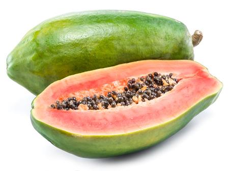 Papaya fruit isolated on a white background.