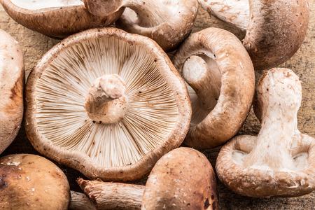 Shiitake mushrooms. Macro. Food background. Stock Photo